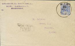 Sarawak. COVERYv 63. 1930. 12 Cts Ultramarine. MIRI To MADRID (addressed To Miguel Gálvez). On Reverse Transit SINGAPORE - Sellos