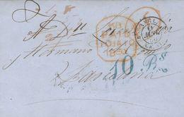 "Trinidad And Tobago. COVER. 1849. TRINIDAD To BARCELONA, Addressed Via England And France. Rate ""10 Rs"" (real), In Blue  - Trinidad Y Tobago"
