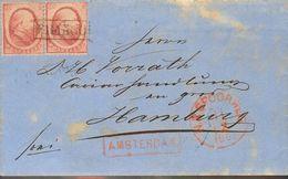 Holanda. SOBREYv 5(2). 1867. 10 Cent Red, Two Stamps. AMSTERDAM To HAMBURG (GERMANY). On Front N.R. SPOORWEG (Railway) I - Holanda