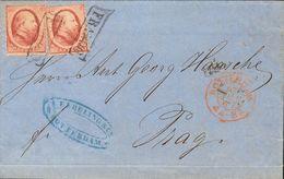 Holanda. SOBREYv . 1867. 10 Cent Red, Two Stamps. ROTTERDAM To PRAGUE (present Day CZECH REPUBLIC). VERY FINE. (NVPH 5). - Holanda