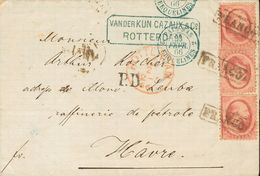 Holanda. SOBREYv 5(3). 1866. 10 Cent Red, Three Stamps (bottom Stamp Minimal Fold). ROTTERDAM To THE HAGUE. Addressed Vi - Holanda