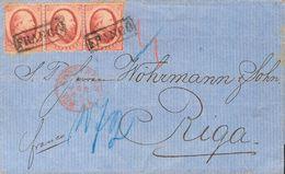 Holanda. SOBREYv . 1868. 10 Cent Red, Strip Of Three (lightly Toned). AMSTERDAM To RIGA (LATVIA). On Front AMSTERDAM Dat - Holanda