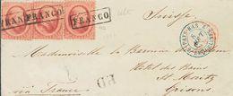 Holanda. SOBREYv . 1866. 10 Cent Red, Three Stamps (one Stamp Cuted). THE HAGUE To SAINT MORITZ (SWITZERLAND). Addressed - Holanda