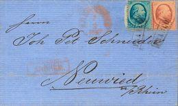 Holanda. SOBREYv 4, 5. 1867. 5 Cent Blue (corner Fold And Short Perforations) And 10 Cent Red. ARNHEM To NEUWIED (PRUSSI - Holanda