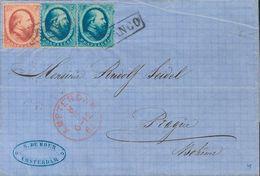 Holanda. SOBREYv . 1865. 5 Cent Blue, Pair And 10 Cent Red. AMSTERDAM To PRAGUE (present Day CZECH REPUBLIC). VERY FINE. - Holanda