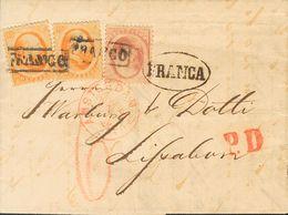 Holanda. SOBREYv . 1866. 10 Cent Red And 15 Cent Orange, Two Stamps. AMSTERDAM To LISBON (PORTUGAL). On Front Datestamp  - Holanda