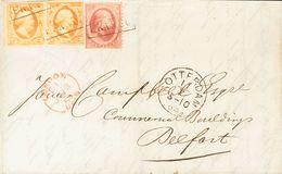 Holanda. SOBREYv . 1864. 15 Cent Orange, Pair (one Short Margin) And 10 Cent Of 1864 Issue (left Margin Cutted). ROTTERD - Holanda