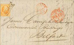 Holanda. SOBREYv . 1867. 15 Cent Orange. ROTTERDAM To BELFAST (NORTH IRELAND). Cancelled With Framed FRANCO And Transit  - Holanda