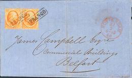 Holanda. SOBREYv . 1866. 15 Cent Orange, Pair. ROTTERDAM To BELFAST (NORTH IRELAND). Cancelled With Framed FRANCO. VERY  - Holanda