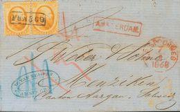 Holanda. SOBREYv . 1868. 15 Cent Orange (Haarlem Print), Pair. AMSTERDAM To MENZIKEN (SWITZERLAND). On Front Red Boxed A - Holanda