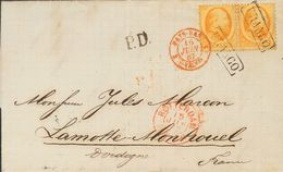 Holanda. SOBREYv 6(2). 1867. 15 Cent Orange, Pair. ROTTERDAM To LAMOTTE MONTRAVEL (FRANCE). Cancelled With Framed FRANCO - Holanda