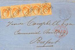 Holanda. SOBREYv . 1865. 15 Cent Orange, Strip Of Four (one With File Fold) An One Stamp. ROTTERDAM To BELFAST (NORTH IR - Holanda