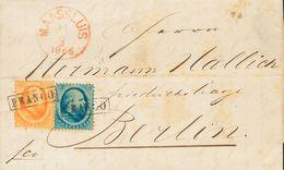 Holanda. SOBREYv 4, 6. 1866. 5 Cent Blue And 15 Cent Orange. MAASSLUIS To BERLIN (GERMANY). Cancelled With Framed FRANCO - Holanda