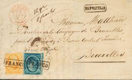 Holanda. SOBREYv 4, 6. 1867. 5 Cent Blue And 15 Cent Orange. HEERLEN To BRUSSELS (BELGIUM). Framed FRANCO Cancel And On  - Holanda