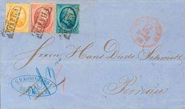 Holanda. SOBREYv . 1866. 5 Cent Blue (short Perforation), 10 Cent Red And 15 Cent Orange. ROTTERDAM To PERNAU (ESTLAND). - Holanda
