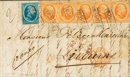 Holanda. SOBREYv . 1865. 5 Cent Blue (short Perforation) And 15 Cent Orange, Strip Of Five. ROTTERDAM To LIVORNO (ITALY) - Holanda