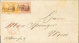 Holanda. SOBREYv . 1867. 10 Cent Red And 15 Cent Orangem, Pair. AMSTERDAM To WIEN (AUSTRIA). Adressed Via Emmerich (date - Holanda