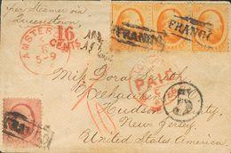 Holanda. SOBREYv . 1866. 10 Cent Red And 15 Cent Orange, Strip Of Three (any Stamp Short Perforation). AMSTERDAM To WEEH - Holanda