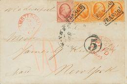 Holanda. SOBREYv . 1865. 10 Cent Red And 15 Cent Orange, Three Stamps. AMSTERDAM To NEW YORK (U.S.A.), Addressed Via Lon - Holanda