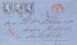 Holanda. SOBREYv . 1868. 5 Cent  Blue (Type II, Perforation 12¾ X 11¾), Three Stamps. HAARLEM To MELIN GRIFFITH (SOUTH W - Holanda