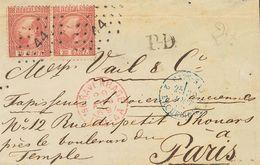 Holanda. SOBREYv 8(2). 1869. 10 Cent Carmine (Type II, Perforation 13½), Two Stamps. THE HAGUE To PARIS (FRANCE), Missin - Holanda