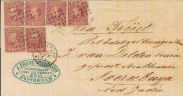 Holanda. SOBREYv 8(6). 1871. 10 Cent Carmine (Type II, Perforation 13½), Six Stamps. AMSTERDAM To SOERABAYA (DUTCH INDIA - Holanda