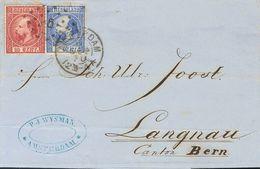 Holanda. SOBREYv . 1870. 5 Cent Blue (Type II, Perforation 13¼ X 14) And 10 Cent Carmine (Type II, Perforation 13¼ X 14) - Holanda