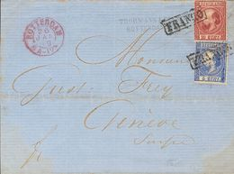 Holanda. SOBREYv . 1869. 5 Cent Blue (Type II, Perforation 12¾ X 11¾) And 10 Cent Carmine (Type II, Perforation 12¾ X 11 - Holanda