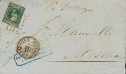 Holanda. SOBREYv . 1871. 20 Cent Dark Green (Type II, Perforation 10½ X 10¼). Front Cover From AMSTERDAM To MESSINA (ITA - Holanda