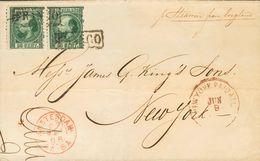 Holanda. SOBREYv . 1868. 20 Cent Dark Green (Type I, Perforation 12¾ X 11¾), Pair. AMSTERDAM To NEW YORK (USA). On Front - Holanda