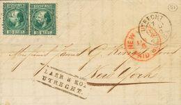 Holanda. SOBREYv . 1870. 20 Cent Dark Green (Type II, Perforation 12¾ X 11¾), Two Stamps. UTRECHT To NEW YORK (U.S.A.).  - Holanda