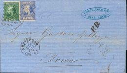 Holanda. SOBREYv . 1870. 5 Cent Blue (Type II, Perforation 13¼ X 14) And 20 Cent Dark Green (Type I, Perforation 12¾ X 1 - Holanda