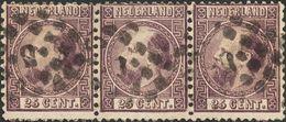 Holanda. ºYv 11(3). 1867. 25 Cent Dark Purple, Strip Of Three. VERY FINE. (NVPH 11IA). -- Netherlands. ºYv 11(3). 1867. - Holanda