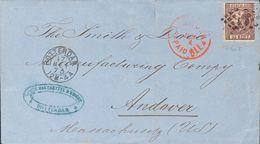 Holanda. SOBREYv . 1873. 25 Cent Dark Violet (Type I, Perforation 12¾ X 11¾). ROTTERDAM To ANDOVER (U.S.A.). VERY FINE.  - Holanda