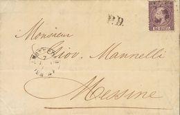 Holanda. SOBREYv . 1870. 25 Cent Dark Purple (Type I, Perforation 12¾ X 11¾). AMSTERDAM To MESSINA. VERY FINE. (NVPH 11I - Holanda