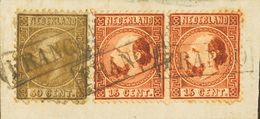 Holanda. FragmentoYv 9(2), 12. 1867. 15 Cent Orange Brown (Type I), Pair And 50 Cent Gold (Type II), On Fragment. Framed - Holanda