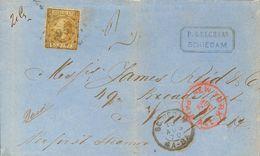 Holanda. SOBREYv . 1870. 50 Cent Gold (Type I, Perforation 12¾ X 11¾). SCHIEDAM To NEW YORK (U.S.A.). Correct Rate For A - Holanda