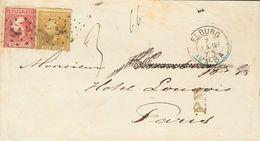 Holanda. SOBREYv 8, 12. 1873. 10 Cent Carmine (Type II Perforation 13½x14) Folded Vertically And 50 Cent Gold (Type II,  - Holanda