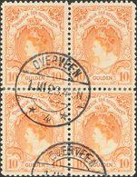 Holanda. ºYv 64(4). 1898. 10 Gulden Orange, Block Of Four. VERY FINE AND RARE. (NVPH 80, 4500 Euros). Cert. VLEEMING. -- - Holanda
