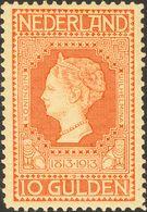Holanda. **Yv 93. 1913. 10 Gulden Orange. Well Centered. VERY FINE. (NVPH 101, 2250 Euros). Cert. VLEEMING. -- Netherlan - Holanda