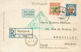 Iceland, Airmail. COVERYv 9, 10. 1931. 30 A Red And Green Yellow And 1 K Blue And Brown. Postcard From REIKJAVIK To BRUS - Islandia