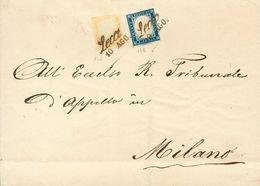 Sardinia. COVERYv 12, 14. (1859ca). 80 Cts Pale Yellow And 20 Cts Dark Blue. LECA To MILAN. Cds Cancellation LECA/10 AGO - Sardinia