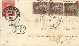Tuscany. COVERYv 4, 8(3). 1858. 1 Crazia Carmine And 9 Crazia Brown Lilac, Strip Of Three (short Margin). FLORENCE To SA - Sellos