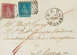 Tuscany. COVERYv 4, 5. 1852. 1 C Carmine And 2 C Blue (some Narrow Margin). FLORENCE To SIENA. PRETTY. -- Toscana. SOBRE - Sellos