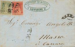 """Tuscany. COVERYv 12, 13. 1859. 1 Crazia Carmine And 2 Crazia Blue Green. LIVORNO To MASSA DI CARRARA. Postmark """"P.D."""", R - Sellos"""