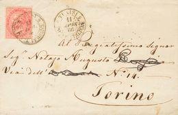 Tunisia, Italian Post Offices. COVERYv Italia 19. 1866. 40 Cts Pink (London Shot). TUNIS To TURIN. Postmark TUNISIE / PO - Tunisia (1956-...)