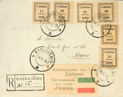 Lithuania. COVERYv 1/6. 1918. Complete Set. Registered From RADVILISKIS To KAUNAS. A Flap Is Missing On The Back. VERY F - Lituania