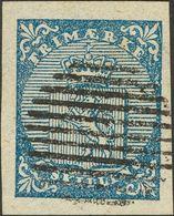 Norway. ºYv 1. 1855. 4 Blue Sk (huge Margins). Circular Postmark Of 10 Bars. VERY FINE. (Facit 1a) -- Noruega. ºYv 1. 18 - Noruega