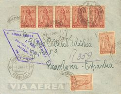 Angola. COVERYv 244(2), 249(5). 1947. 50 Ctvos Chestnut, Four Stamps (two On The Back) And 1 A Lilac, Strip Of Five. Air - Angola