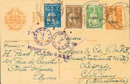 Azores, Postal Stationery. COVERYv 164, 183, 187. 1925. 2 Cts Orange On Postal Stationey Card From PONTA DELGADA To LEIP - Sellos